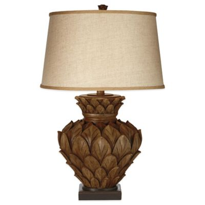 Artichoke Square Base Table Lamp in Brown