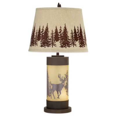 Whitetail Deer Table Lamp in Rust with Burlap Shade
