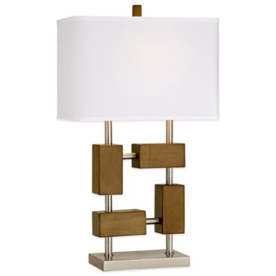 Modern Square Wood Table Lamp in Chocolate Brown with Linen Shade