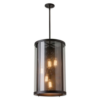 Feiss® Bluffton 5-Light Ceiling-Mount Outdoor Hanging Lantern in Oil-Rubbed Bronze