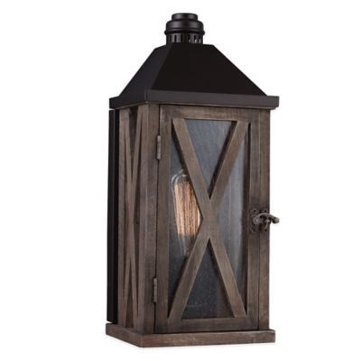 Feiss® Lumiere Wall-Mount Outdoor Lantern in Weathered Oak/Oil-Rubbed Bronze