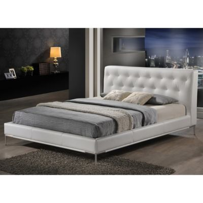 Baxton Studio Panchal Queen Platform Bed with Headboard in White