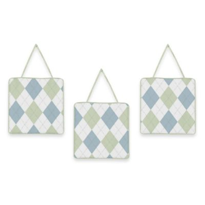 Sweet Jojo Designs Argyle Wall Decor in Blue/Green (Set of 3)