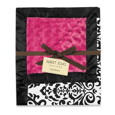 Sweet Jojo Designs Isabella Blanket in Hot Pink/Black/White