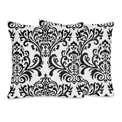 Sweet Jojo Designs Isabella Damask Throw Pillows in Black/White (Set of 2)