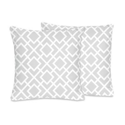 Sweet Jojo Designs Diamond Throw Pillow in Grey/White (Set of 2)