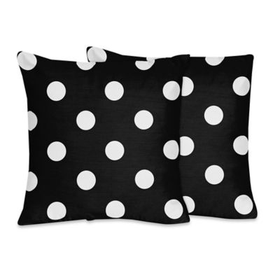 Sweet Jojo Designs Hot Dot Throw Pillows in Black/White (Set of 2)