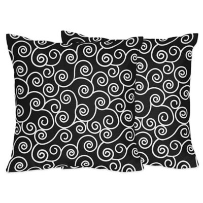 Sweet Jojo Designs Kaylee Scroll Print Throw Pillows in Black/White (Set of 2)
