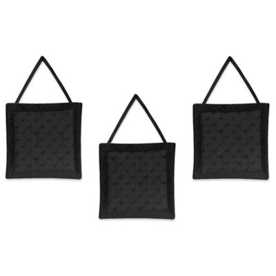 Sweet Jojo Designs Minky Dot 3-Piece Wall Hanging Set in Black