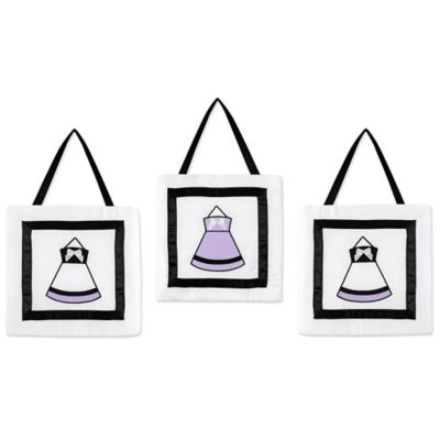 Sweet Jojo Designs Princess 3-Piece Wall Hanging Set in Black/White/Purple
