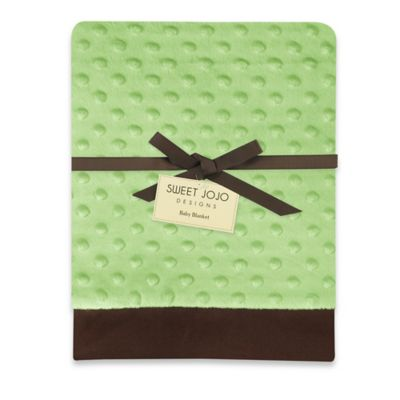 Sweet Jojo Designs Minky Dot and Satin Baby Blanket in Green/Brown