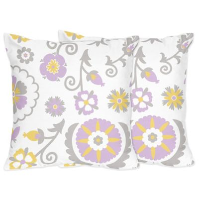 Sweet Jojo Designs Lavender and White Print Suzanna Throw Pillow (Set of 2)