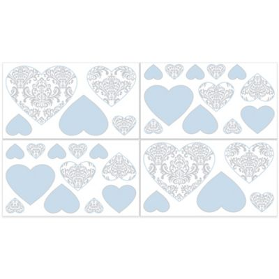 Sweet Jojo Designs Avery Wall Decals in Blue and Grey