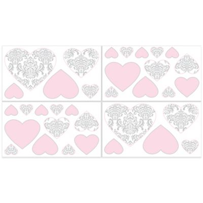 Sweet Jojo Designs Elizabeth Wall Decals in Pink/Grey