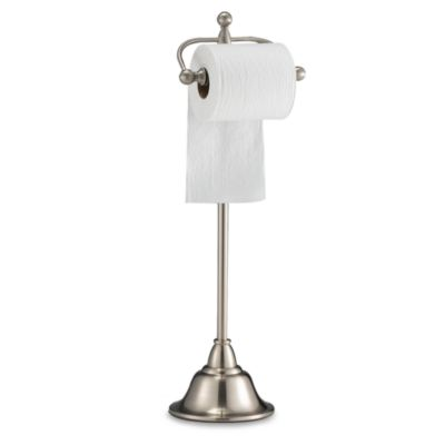 Deluxe Pedestal Satin Nickel Toilet Paper Holder