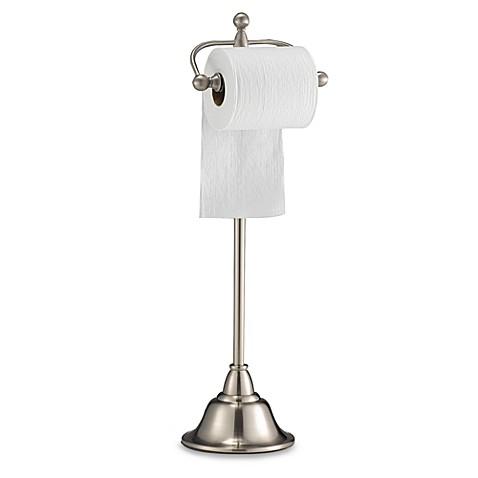 Deluxe Pedestal Satin Nickel Toilet Paper Stand Bed Bath
