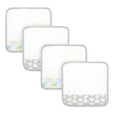 Just Born® 4-Pack Giraffe/Elephant Washcloths in White/Grey/Green