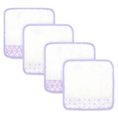 Just Born® 4-Pack Tiki/Emma Print Washcloths in White/Lilac