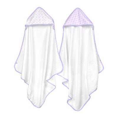 Just Born® 2-Pack Tiki and Emma Hooded Towel Set in White/Lilac