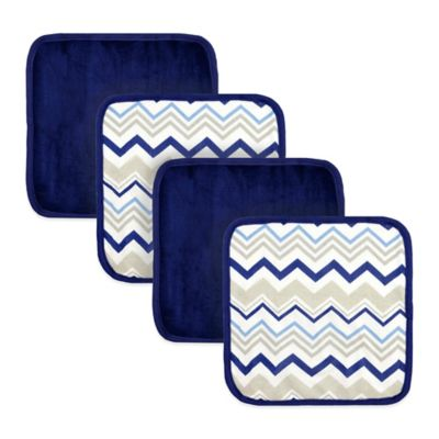 Just Born® 4-Pack Chevron Washcloths in White/Navy