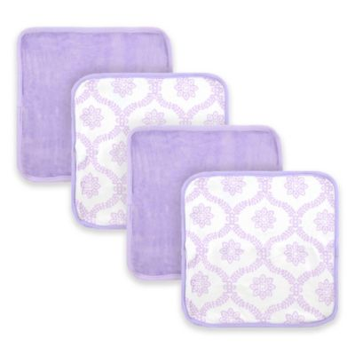 Just Born® 4-Pack Trellis Washcloths in White/Lilac