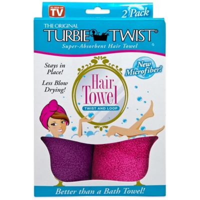 The Original Turbie Twist® Super-Absorbent Hair Towel in Green/Berry (Set of 2)