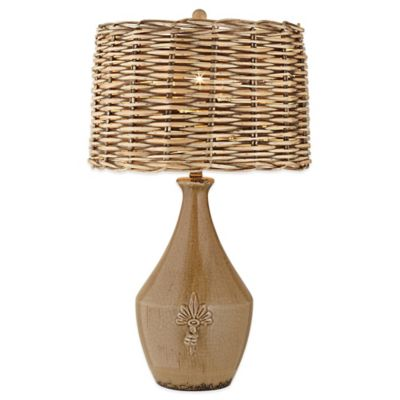 Pacific Coast Lighting Urban Pottery Vase Table Lamp in Brown with Wicker Rattan Shade