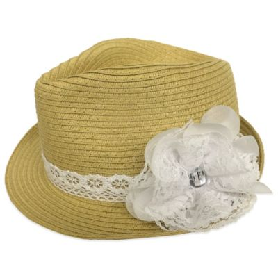 Rising Star Infant Straw Fedora with White Lace Flower