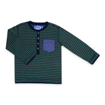 Kapital K™ Size 18M Stripe Long Sleeve Mini Thermal Henley with Denim Pocket