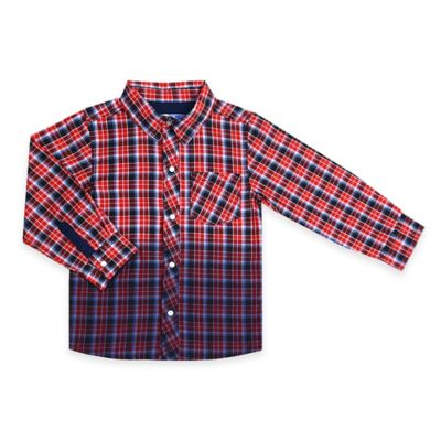 Kapital K™ Size 12M Dip-Dyed Plaid Long Sleeve Snap-Down Shirt