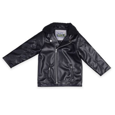 Kapital K™ Size 2T Faux Leather Biker Jacket in Black