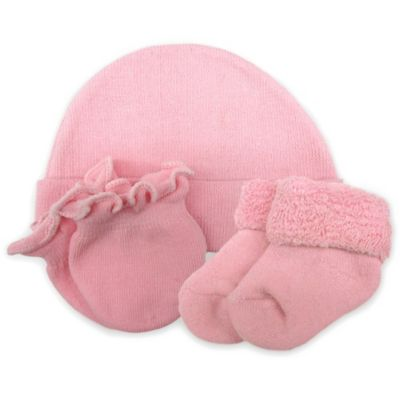 So 'dorable Infant Girl 3-Pack Beanie, Mittens & Booties Set