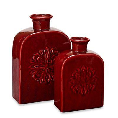 Privilege Short Vintage Ceramic Canister Vase in Red