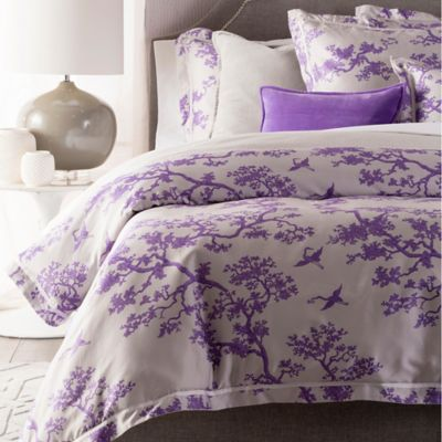Surya The Crane Florence Broadhurst Reversible Duvet Cover Set in Lavender/White