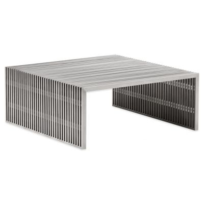 Zuo® Novel Square Coffee Table in Brushed Stainless Steel