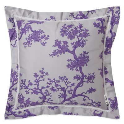 Surya The Crane Florence Broadhurst Polyester Square Throw Pillow in Lavender/White