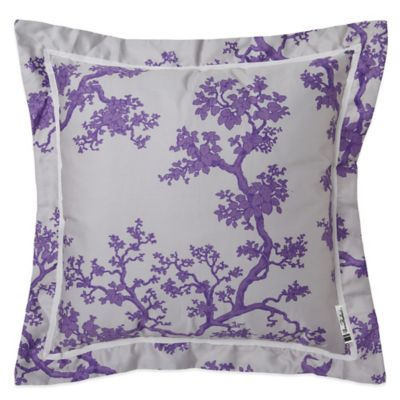 Surya The Crane Florence Broadhurst Down Square Throw Pillow in Lavender/White