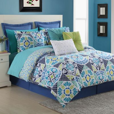 Fiesta® Tile Reversible Queen Comforter Set in Blue