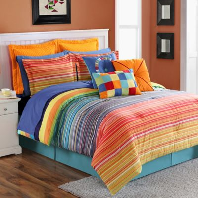 Fiesta® Stripe Reversible Full/Queen Duvet Cover Set in Multi