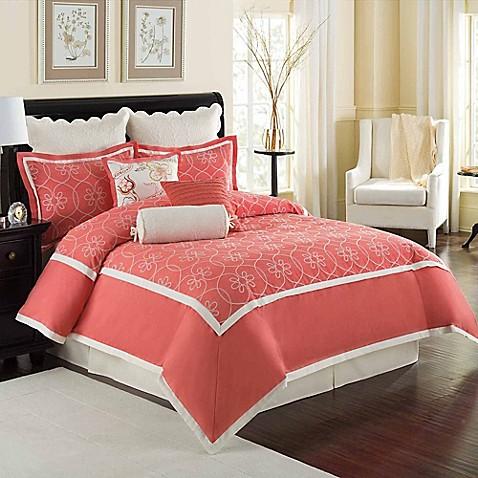 Williamsburg Ariana Comforter Set In Coral Bed Bath Amp Beyond