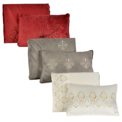 Berkshire Sablesoft™ 2-Piece Border Embroidery Throw and Pillow Gift Set in Cream