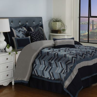 Lexi 7-Piece Queen Comforter Set in Navy