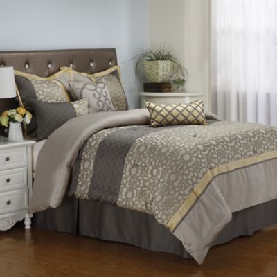 Joseline 7-Piece California King Comforter Set in Grey/Buttercup
