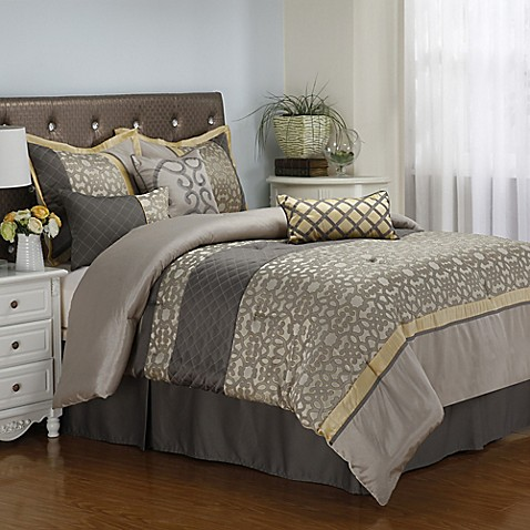 Buy Joseline 7 Piece Queen Comforter Set In Grey Buttercup