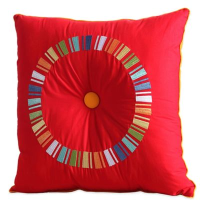 Fiesta® Embroidered Circle Square Throw Pillow in Scarlet