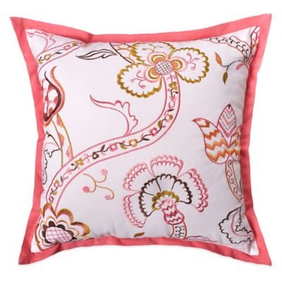 Williamsburg Ariana Embroidered Square Throw Pillow in White