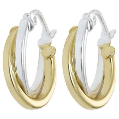 18K Gold-Plated and Sterling Silver 5/8-Inch Twist Hoop Earrings