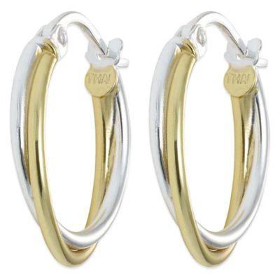 18K Gold-Plated and Sterling Silver 1-Inch Thin Twist Hoop Earrings