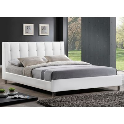 Vino Designer Full Bed with Upholstered Headboard in White