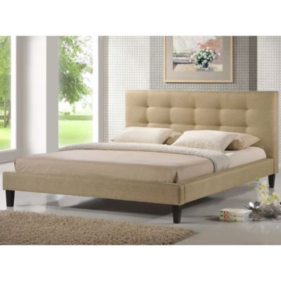 Quincy Designer Queen Platform Bed in Light Beige